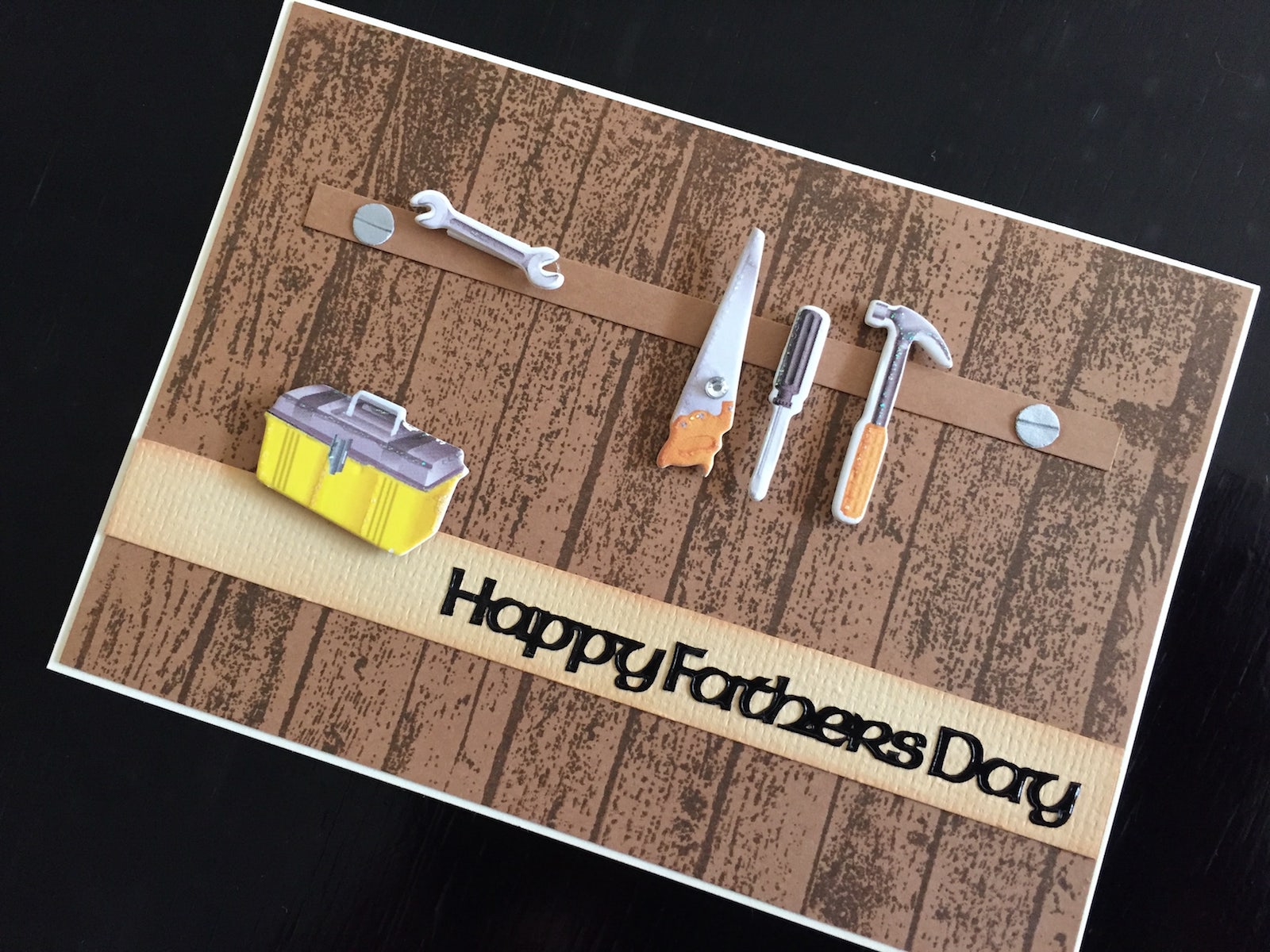 Hand made Fathers Day Card with workshop tools