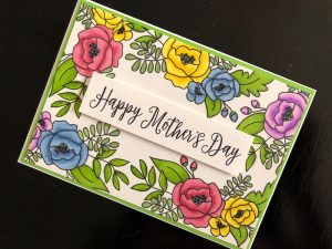 Hand made Mothers Day card with stamped and coloured flowers