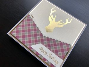 Hand made birthday card with hot foiled stags head, tartan background and peel off greeting