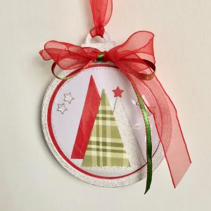 Hand made shaker card dome bauble with die cut Christmas trees and snow
