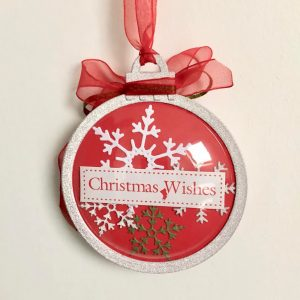 Hand made shaker dome bauble with die cut snowflakes and organza ribbon