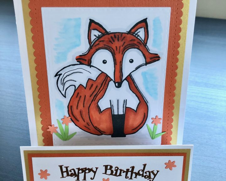 Birthday stepper card with a stamped fox