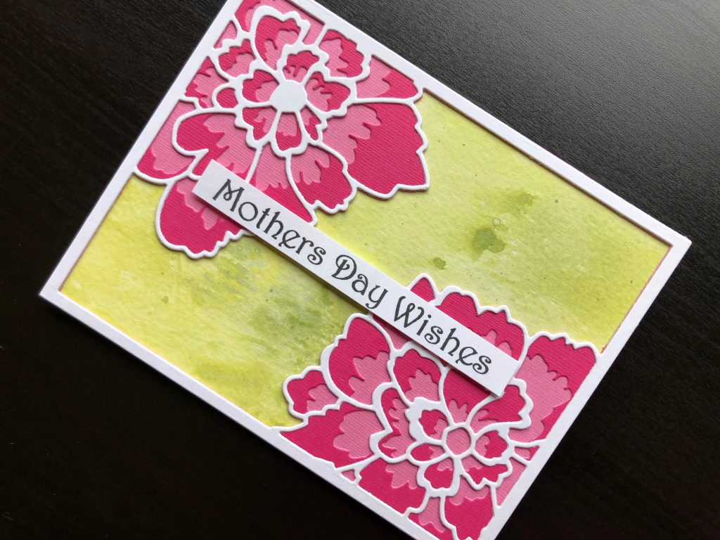 hand made Mother's Day card with die cut peony flowers and inked background.