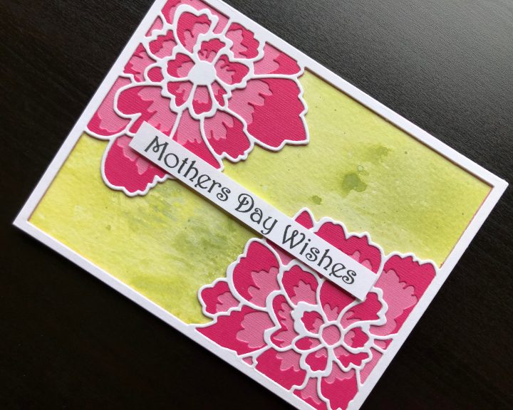 Hand made Mothers Day card with layered die cut peony flowers