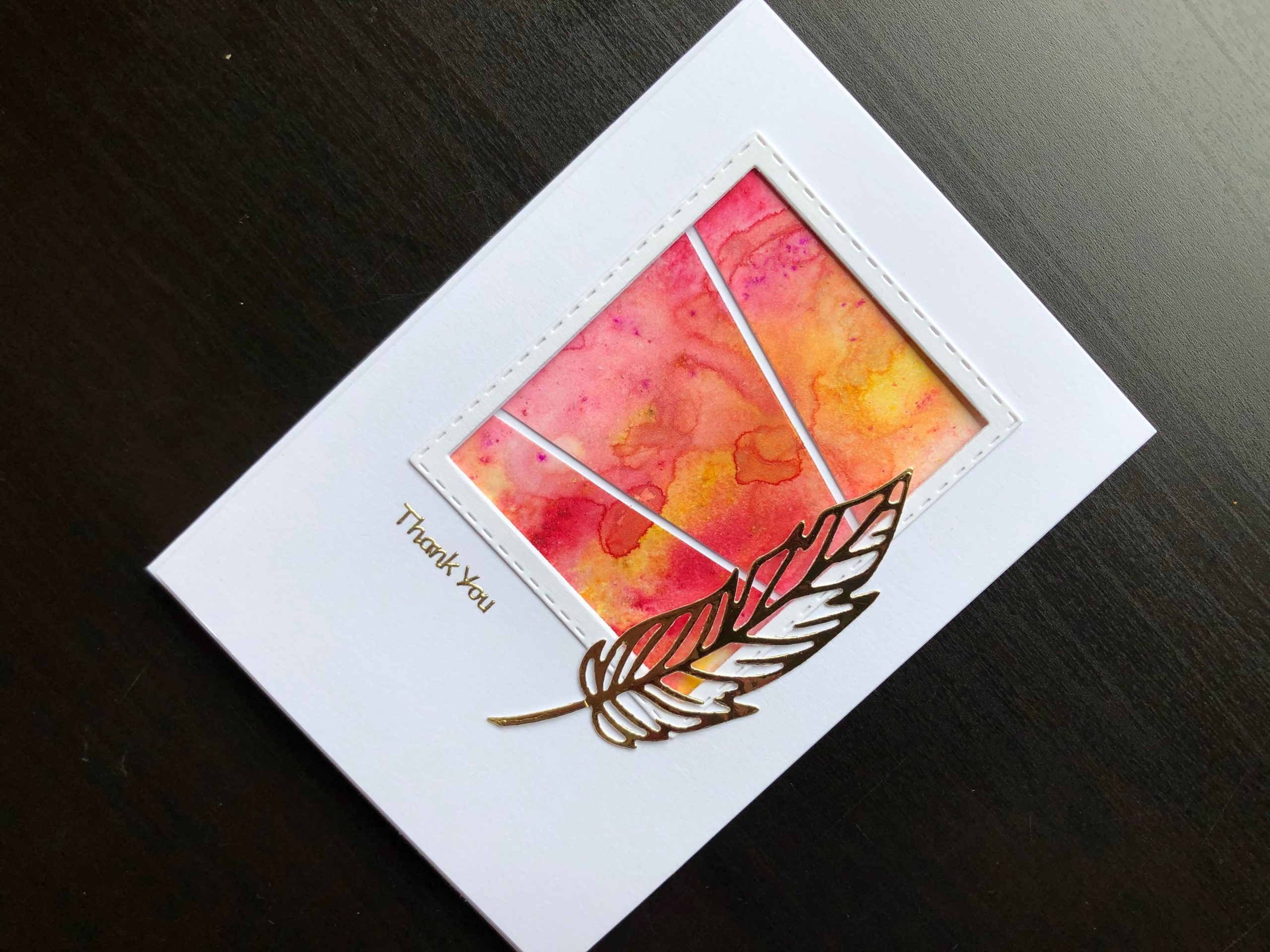 Hand made thank you card with Pixie Powder and die cut feather