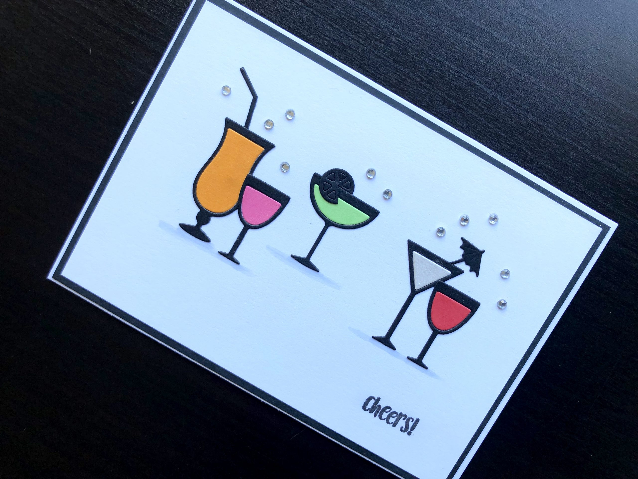 hand made card with die cut drinks glasses