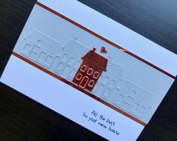 hand made new home card with die cut houses