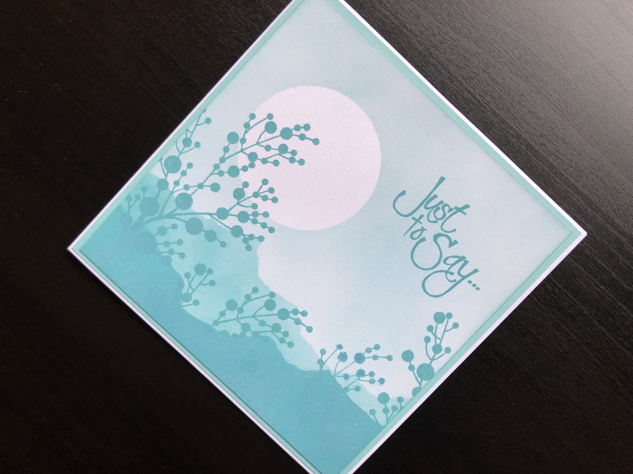 hand made card with monochrome inking, masking and silhouette stamping