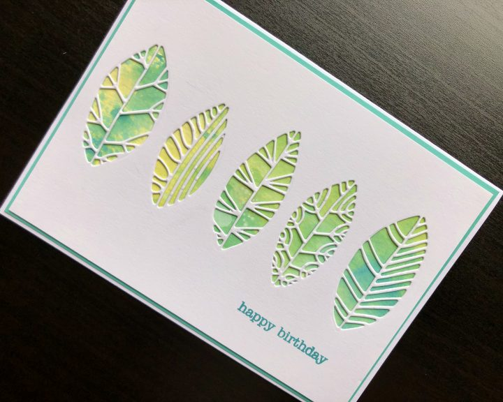 Hand made birthday card with cut out leaves, inked background an stamped happy birthday greeting