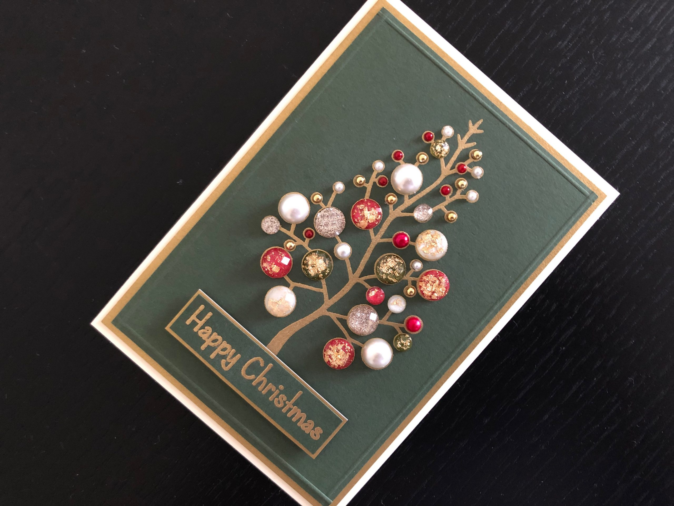 Hand made Christmas card with adhesive jewels