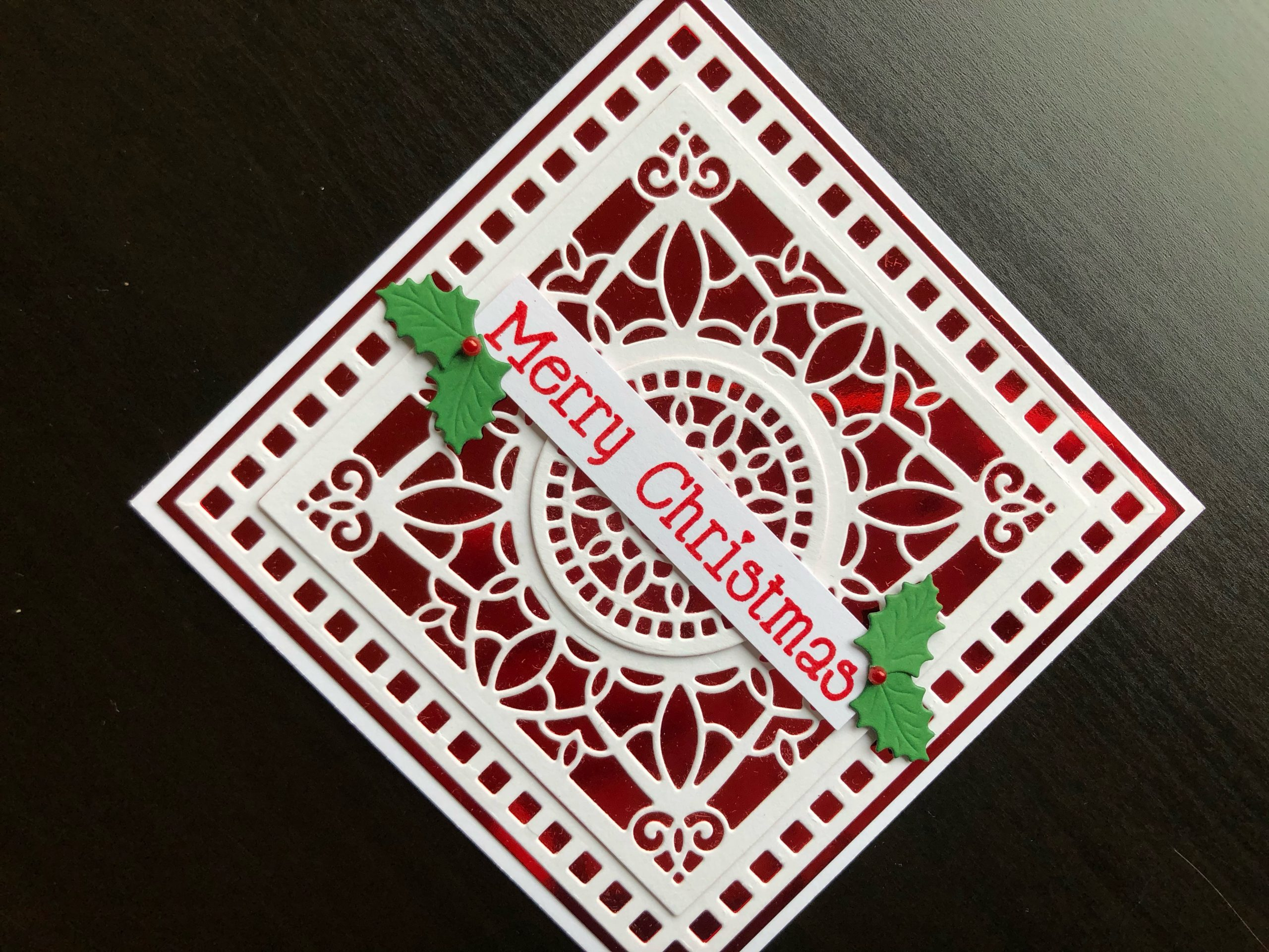 hand made Christmas card with die cut background