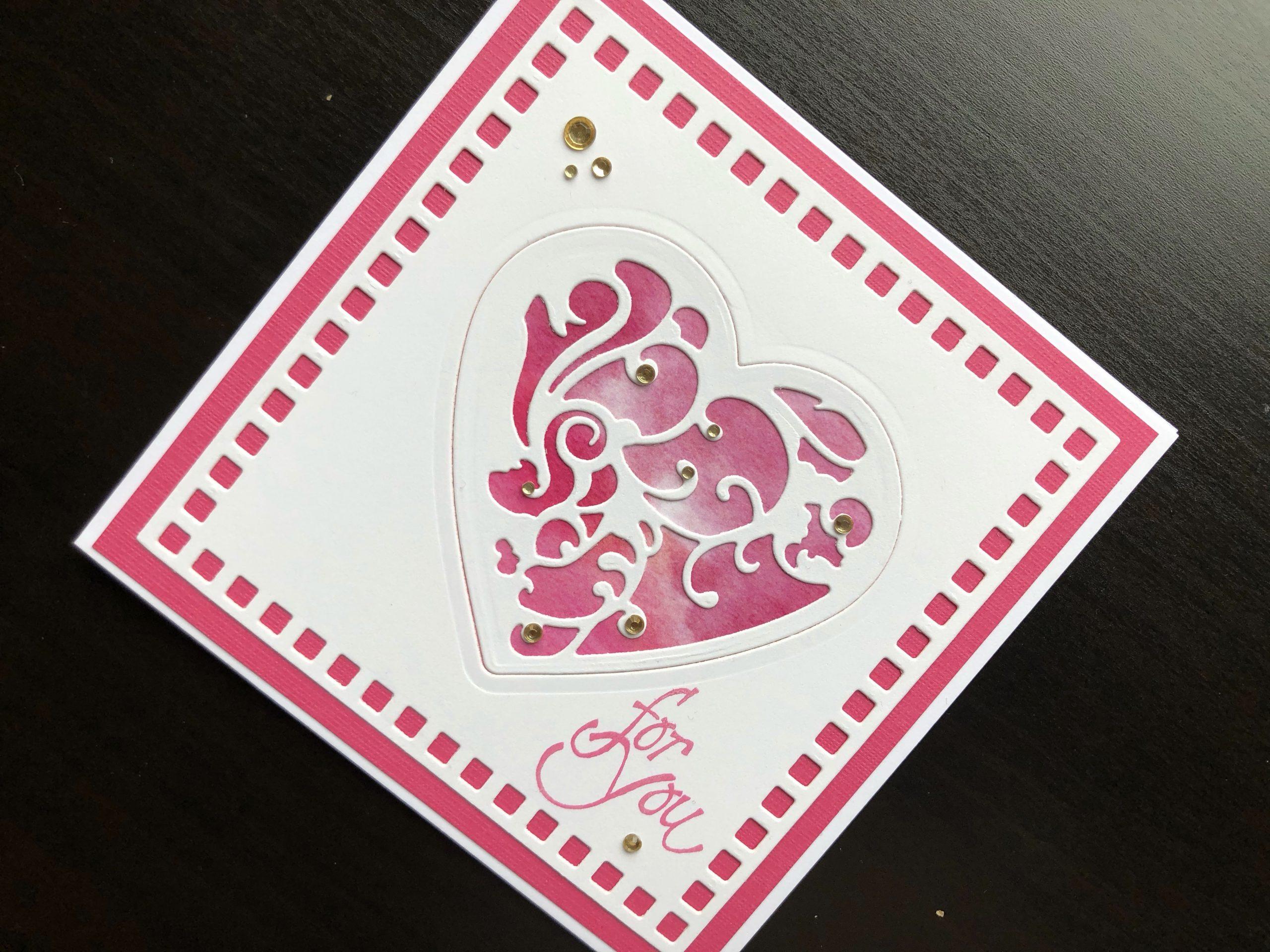 Hand made Valentine card with die cut heart