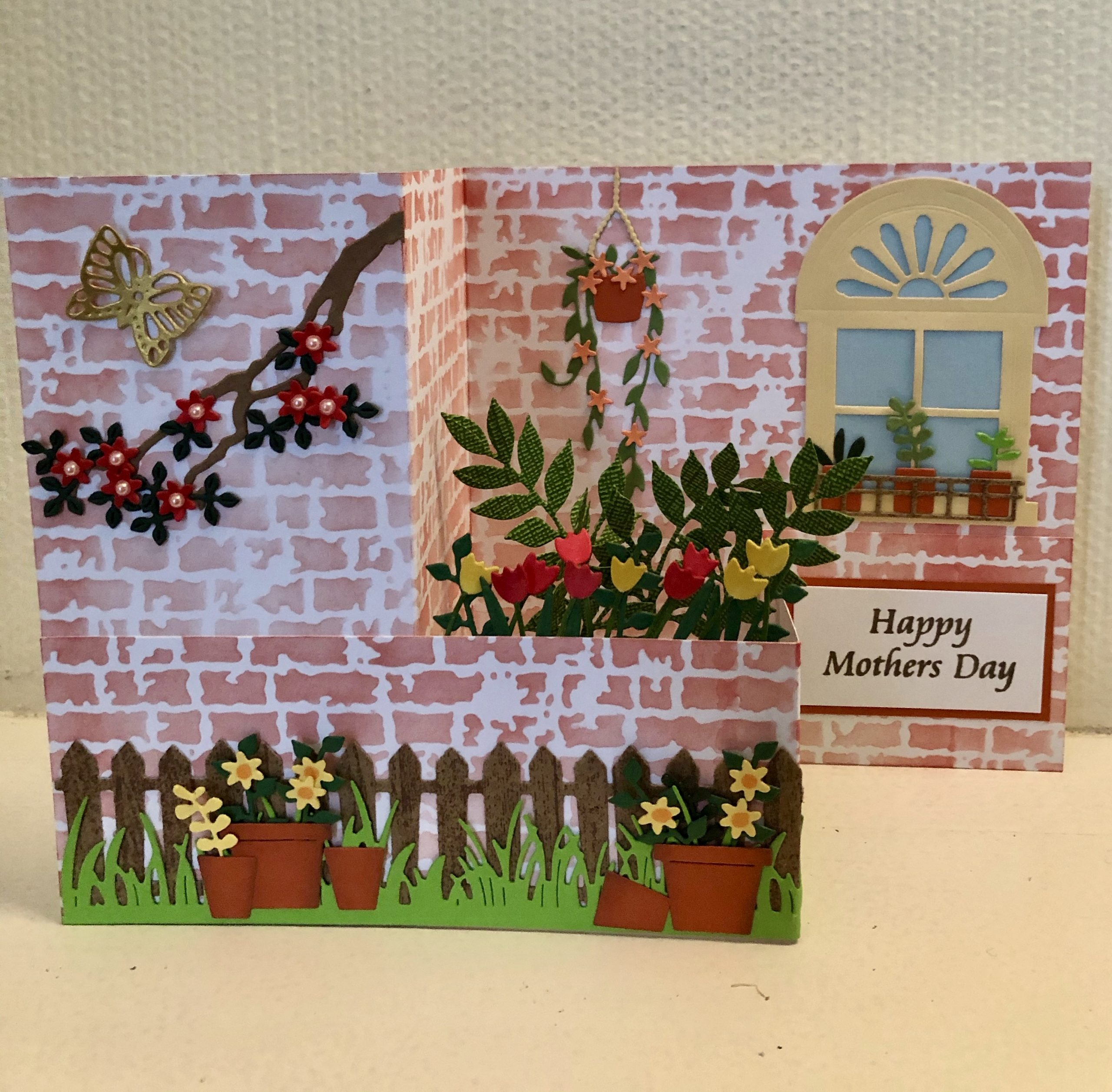 Hand made Mothers Day card with garden wall z fold pop up box