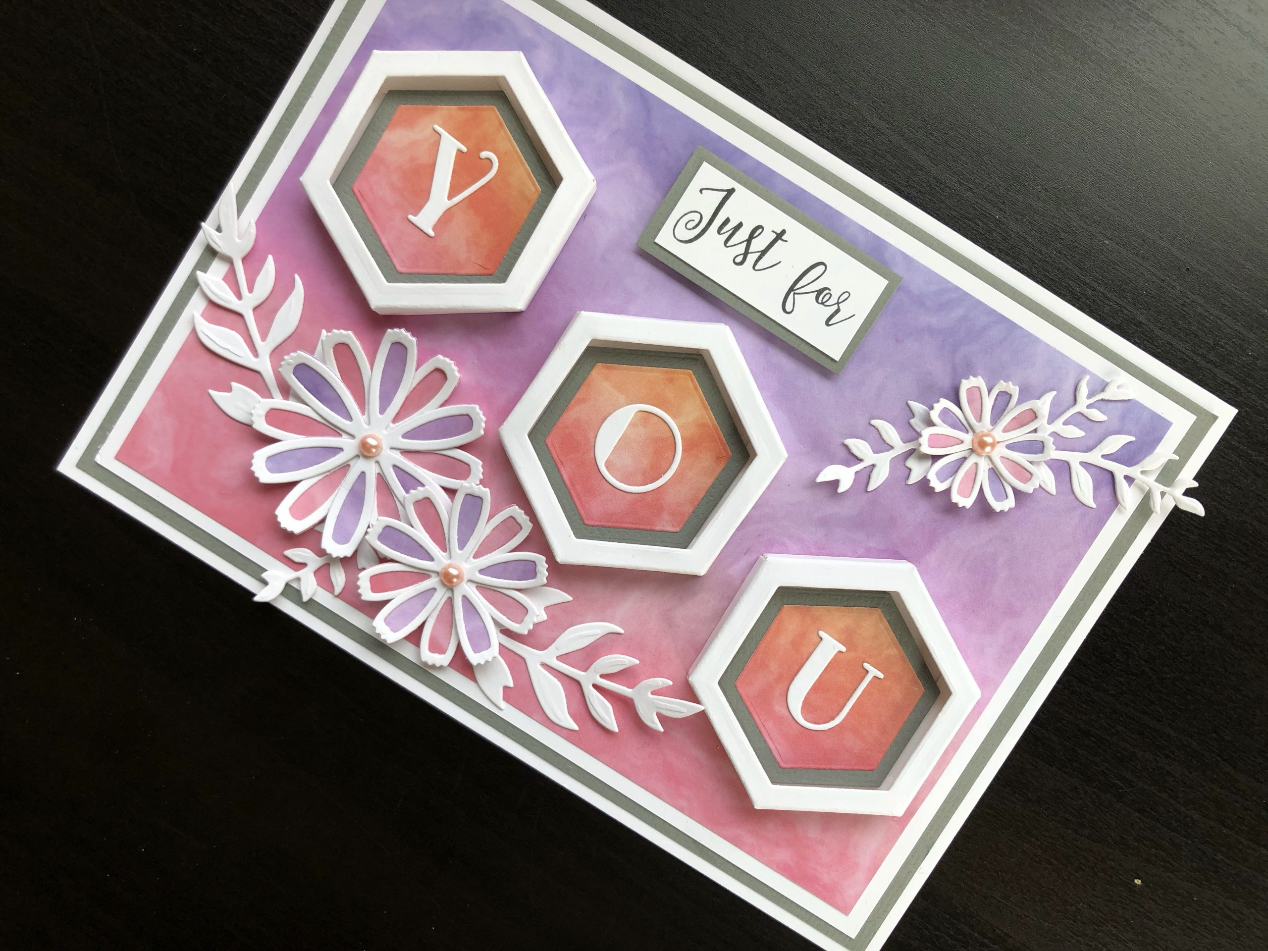 Hand made card with 3D hexagon frames and die cut cosmos flowers