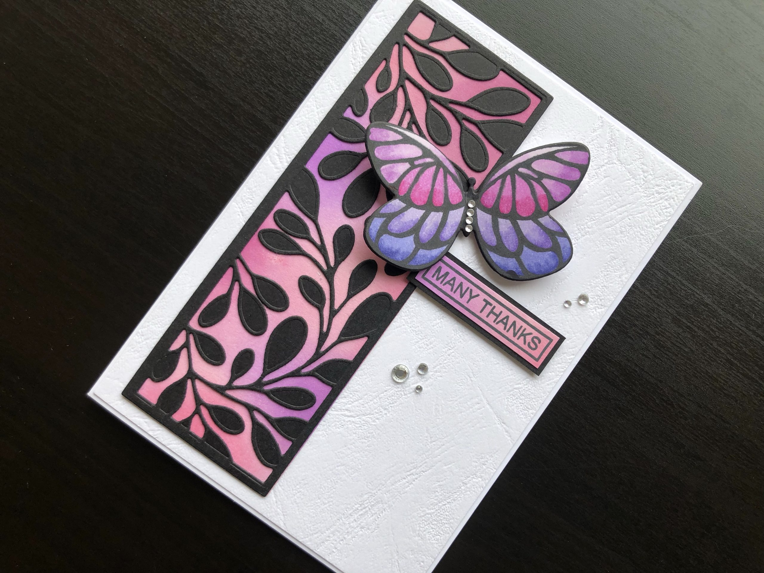 hand made thank you card with ink blending and die cut butterfly