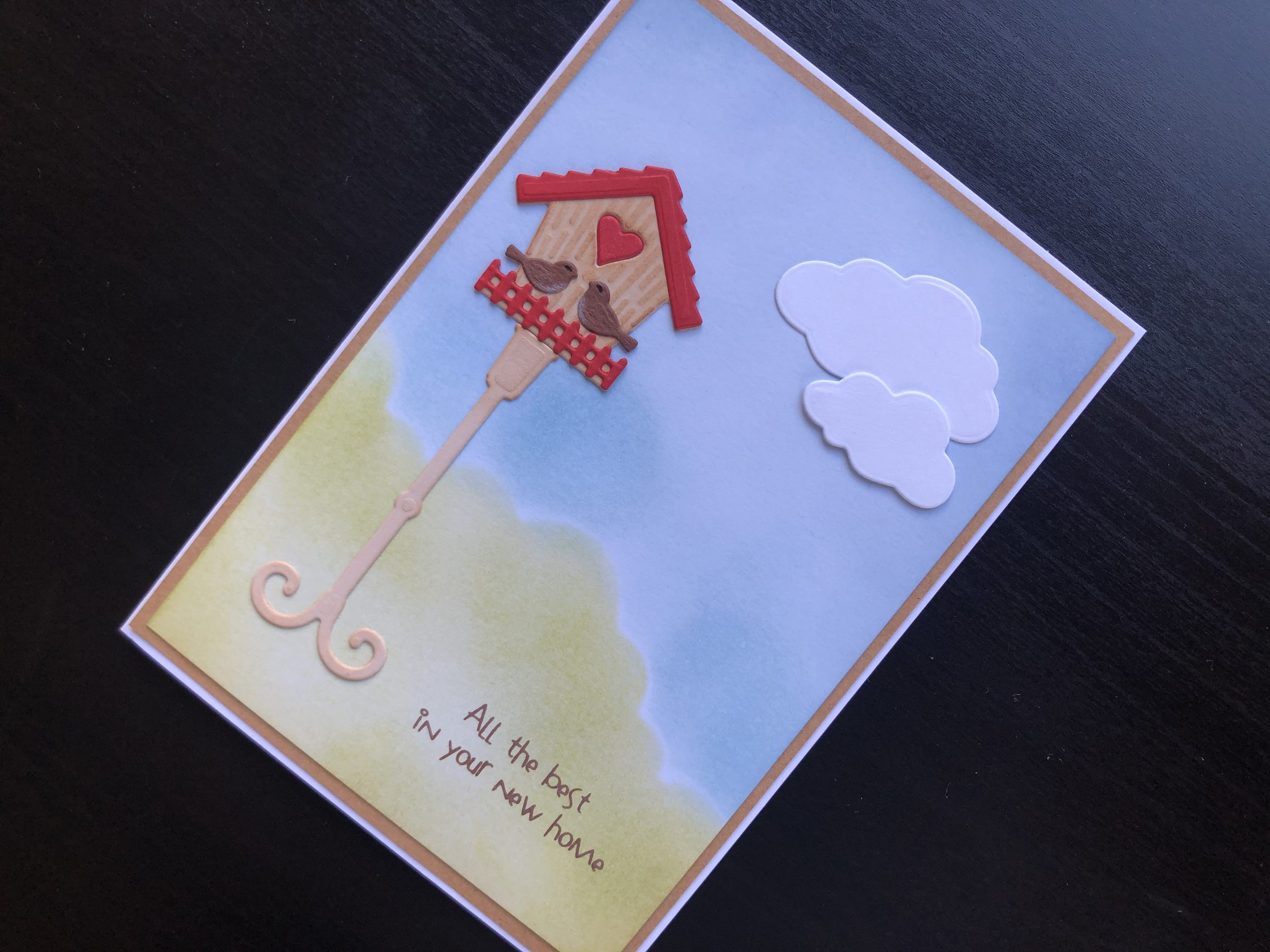Hand made new home card with die cut bird house