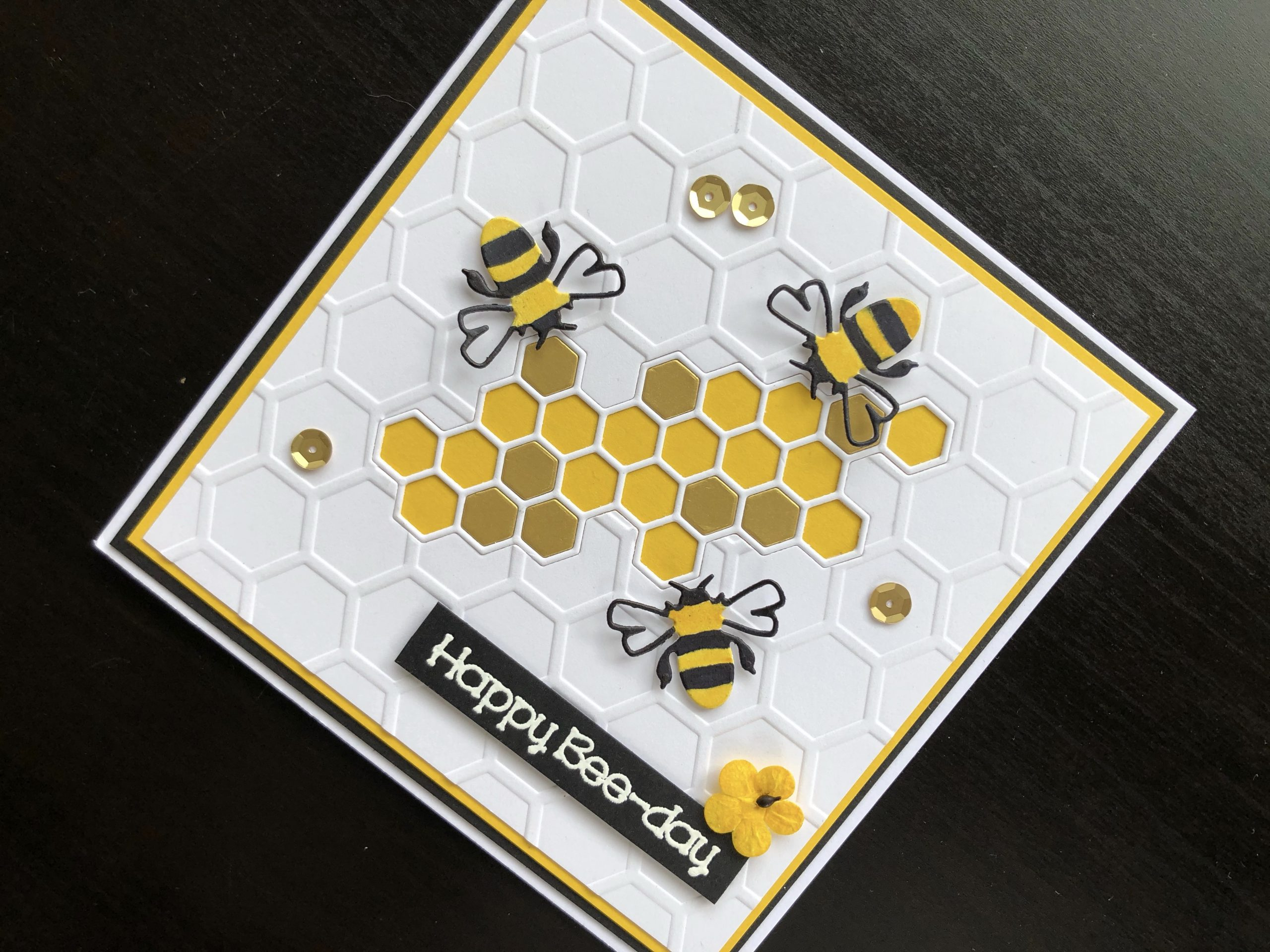 hand made birthday card with die cut bees and honeycomb