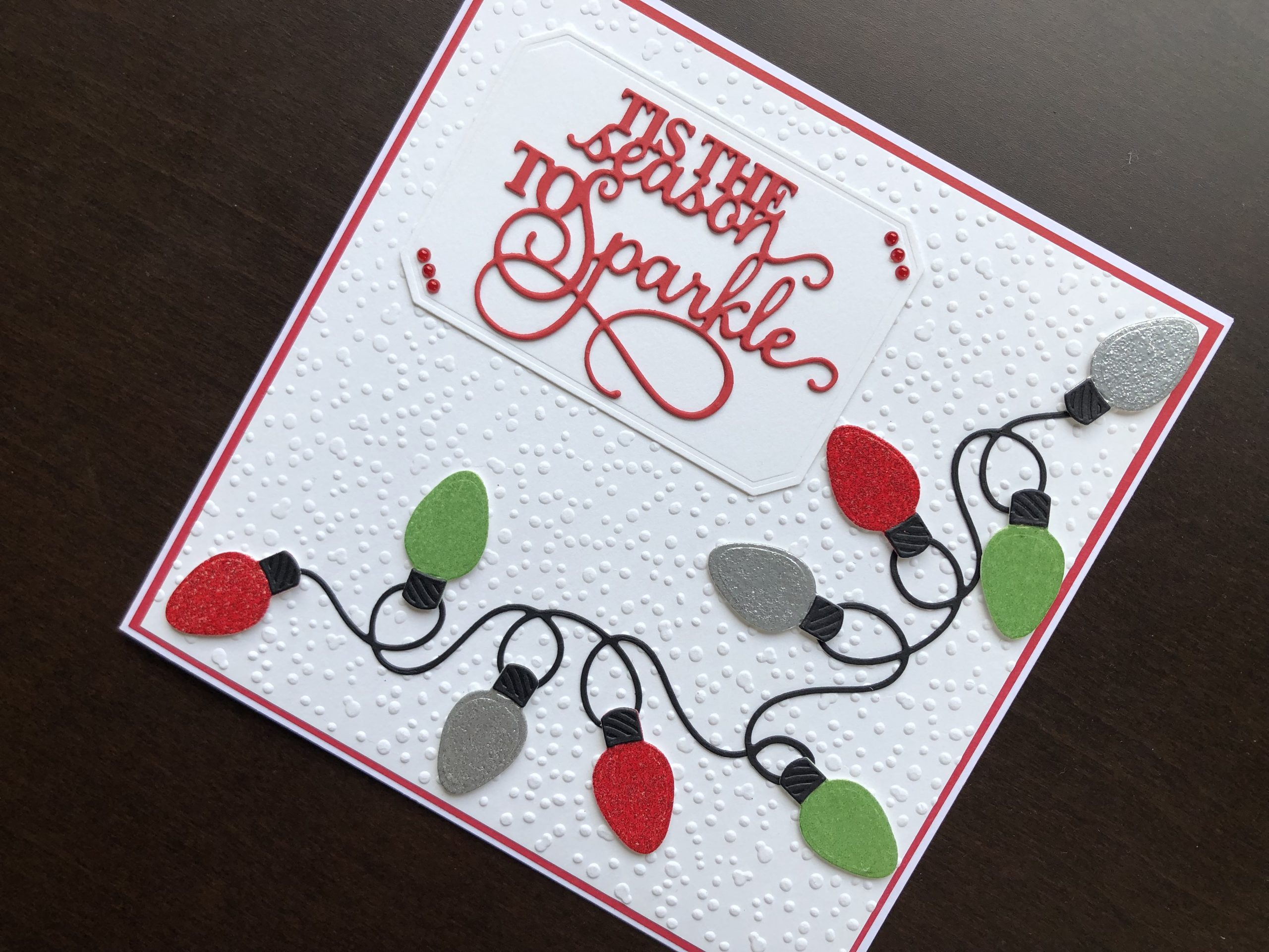 Hand made Christmas card with die cut fairy lights