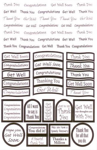 Die Cut Greetings and Sentiments Silver