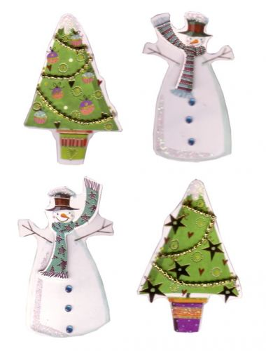Blue Scarf Snowmen Christmas Die Cut Card Toppers