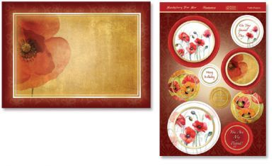 Pretty Poppies Die Cut Card Topper