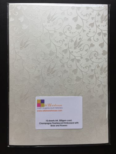 A4 White Pearlescent Embossed Card