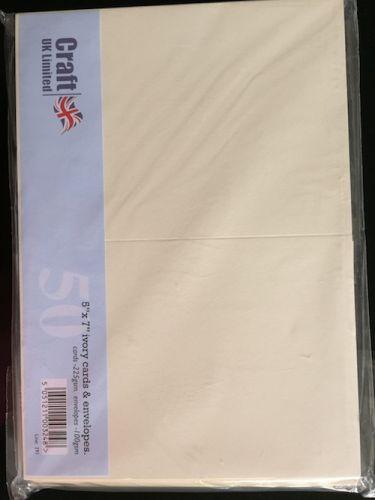 5 x 7 Ivory Blank Cards and Envelopes Bulk Pack