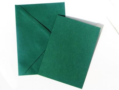A6 Green Blank Cards and Envelopes