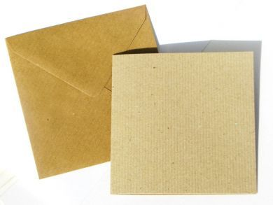 12cm Square Kraft Blank Cards and Envelopes