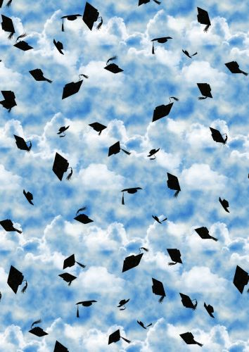 Flying Graduation Hats Background Paper