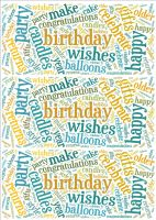 Blue and Beige Birthday Word Cloud Paper