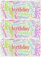 Bright Birthday Word Cloud Paper