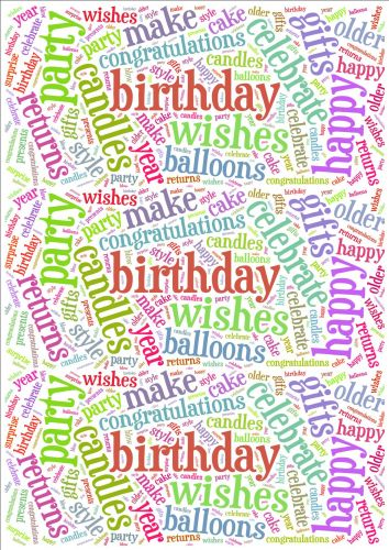 Bright Birthday Word Cloud Paper