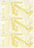 Golden Wedding Anniversary Word Cloud Paper