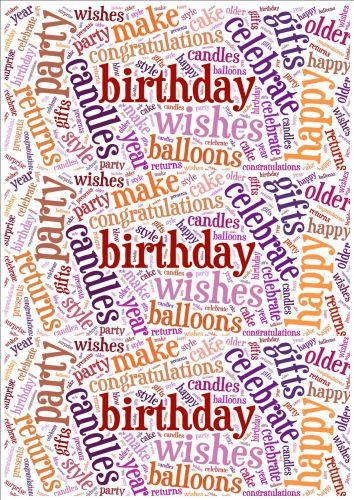 Purple and Orange Birthday Word Cloud Paper