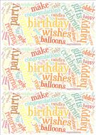 Pastel Birthday Word Cloud Paper