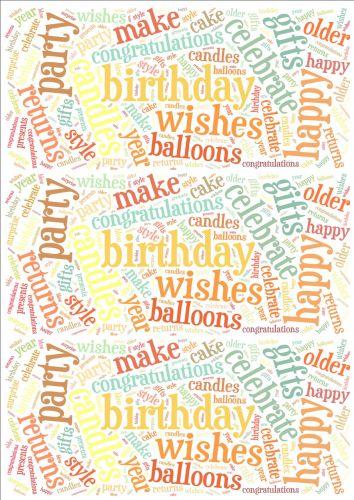 Pastel Birthday Word Cloud Paper