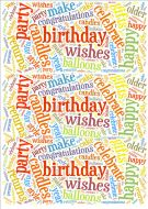 Primary Colours Birthday Word Cloud Paper