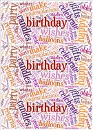 Purple and Orange Birthday Word Cloud Paper