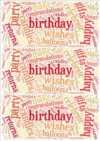 Red Birthday Word Cloud Paper