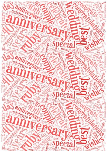 Ruby Wedding Anniversary Word Cloud Paper