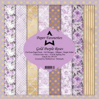 Gold Purple Roses 15cm x 15cm Paper Pad
