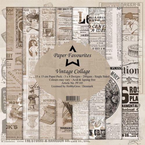 Vintage Collage Newspaper 15cm x 15cm Paper Pad