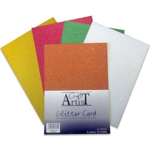 Craft Artist No Shed A4 Glitter Card Festive Tones