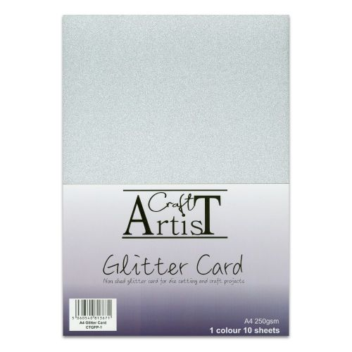 No Shed A4 Glitter Card Silver