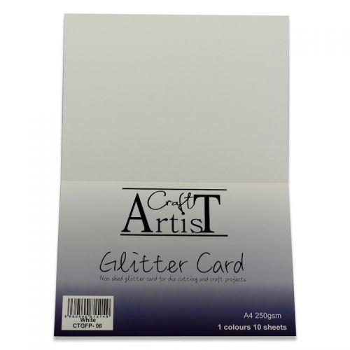 Craft Artist No Shed A4 Glitter Card White
