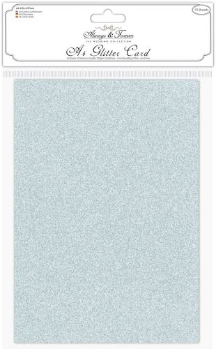 Silver No Shed A4 Glitter Card