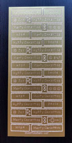 Happy Christmas Panels Peel Off Stickers Gold