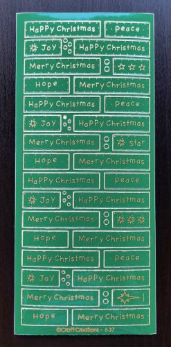 Happy Christmas Panels Peel Off Stickers Green/Gold