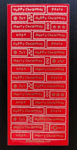 Happy Christmas Panels Peel Off Stickers Red/Gold